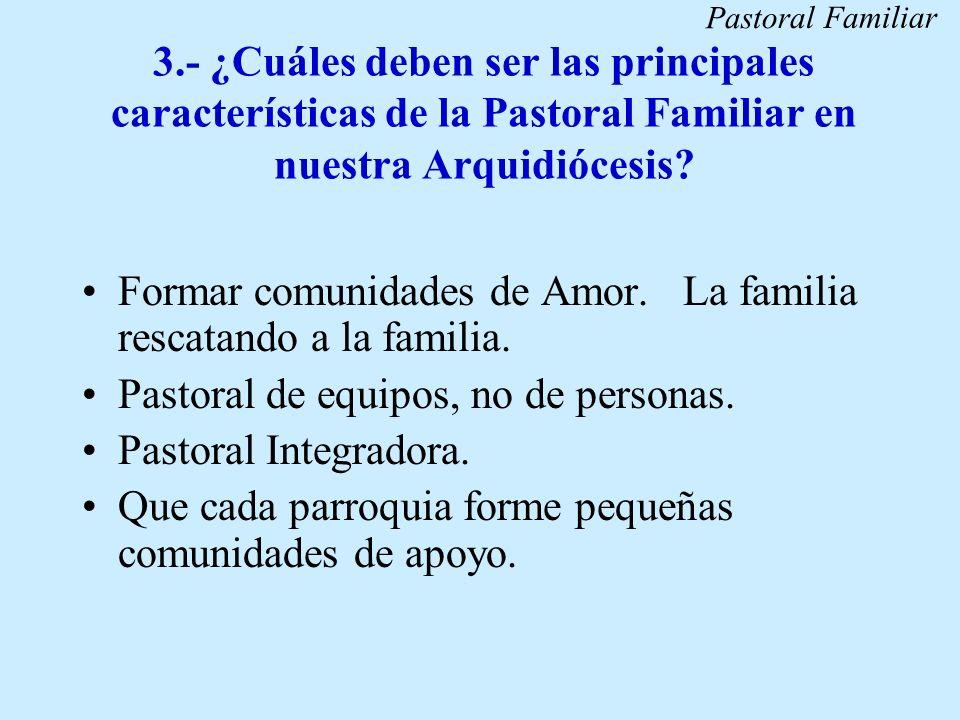 3.- ¿Cuáles deben ser las principales características de la Pastoral Familiar en nuestra Arquidiócesis? Formar comunidades de Amor. La familia rescata
