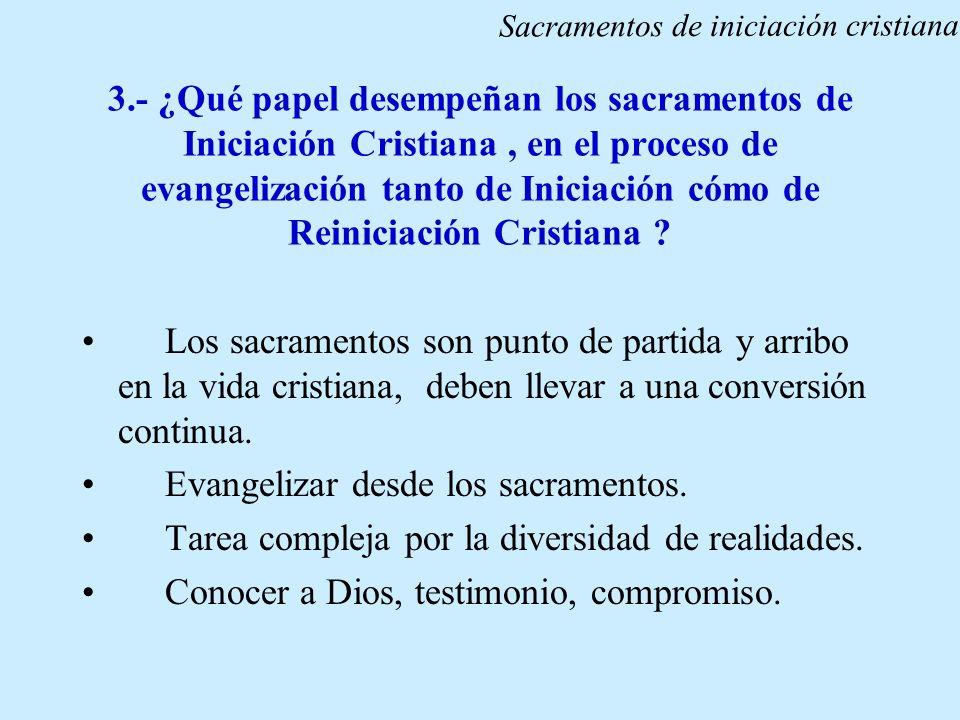 3.- ¿Qué papel desempeñan los sacramentos de Iniciación Cristiana, en el proceso de evangelización tanto de Iniciación cómo de Reiniciación Cristiana