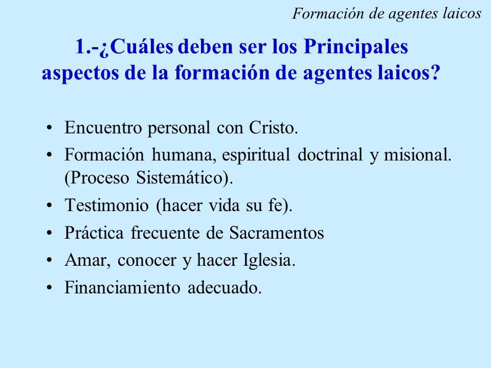1.-¿Cuáles deben ser los Principales aspectos de la formación de agentes laicos? Encuentro personal con Cristo. Formación humana, espiritual doctrinal