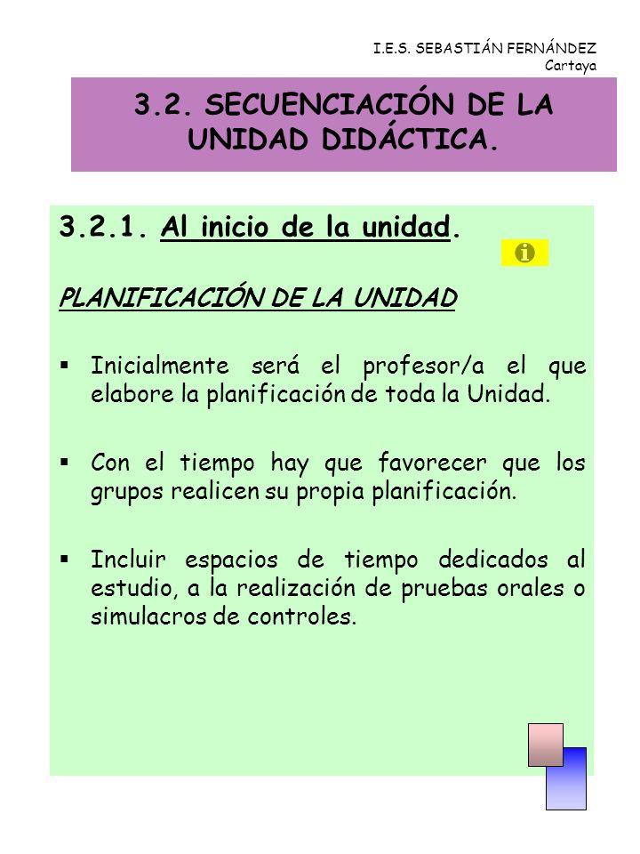 3.2.SECUENCIACIÓN DE LA UNIDAD DIDÁCTICA. 3.2.1. Al inicio de la unidad.