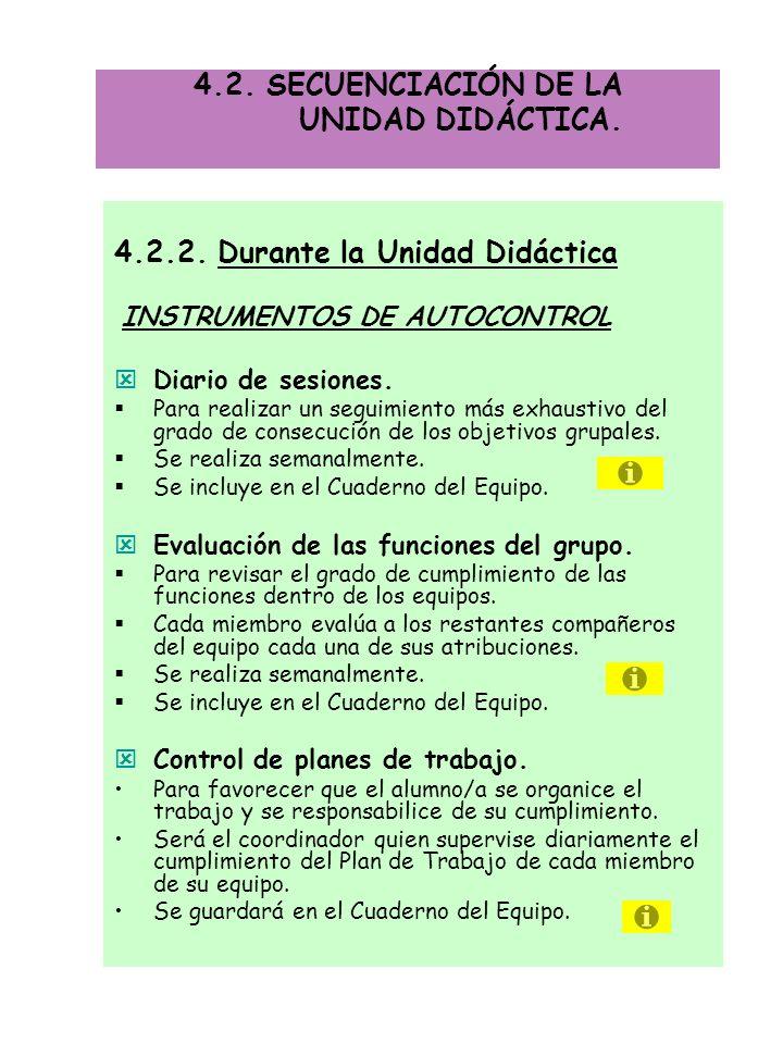 4.2.2. Durante la Unidad Didáctica INSTRUMENTOS DE AUTOCONTROL Diario de sesiones. Para realizar un seguimiento más exhaustivo del grado de consecució