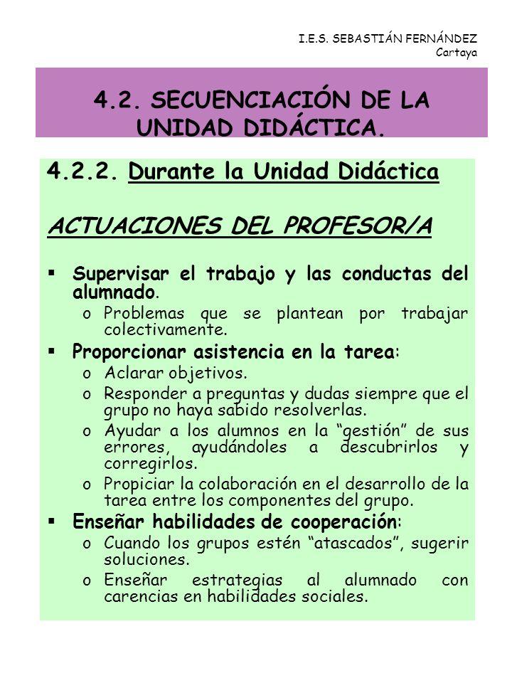 4.2.2. Durante la Unidad Didáctica ACTUACIONES DEL PROFESOR/A Supervisar el trabajo y las conductas del alumnado. oProblemas que se plantean por traba