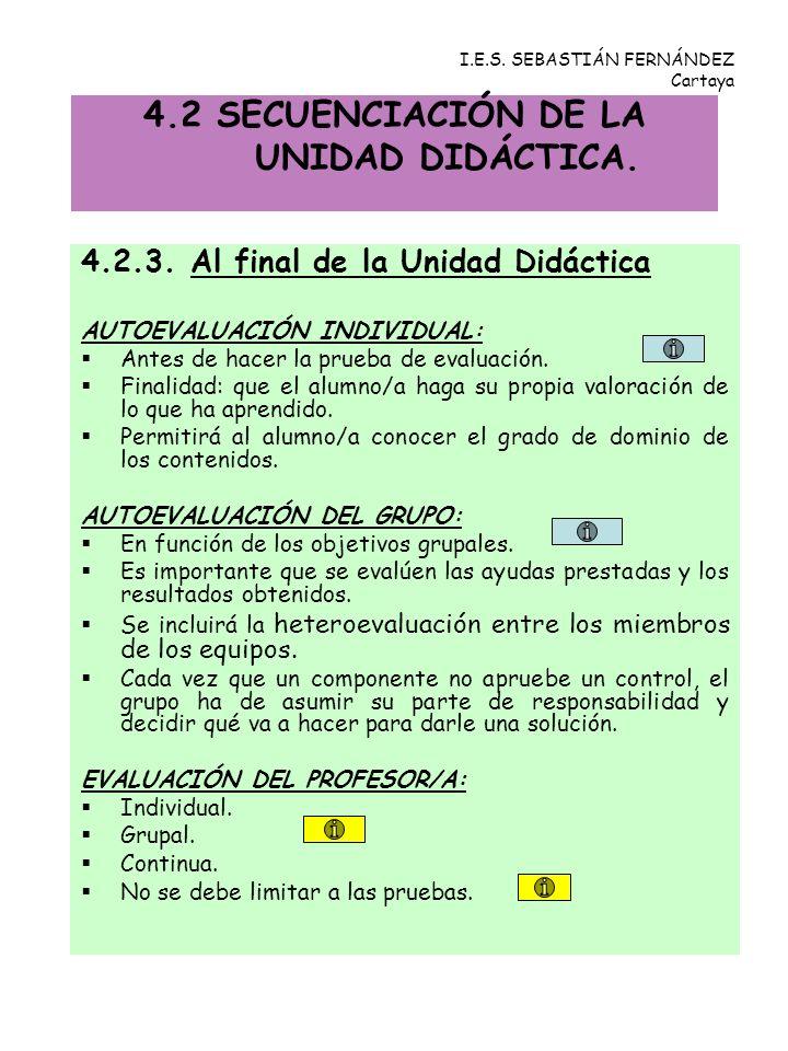 4.2.3. Al final de la Unidad Didáctica AUTOEVALUACIÓN INDIVIDUAL: Antes de hacer la prueba de evaluación. Finalidad: que el alumno/a haga su propia va