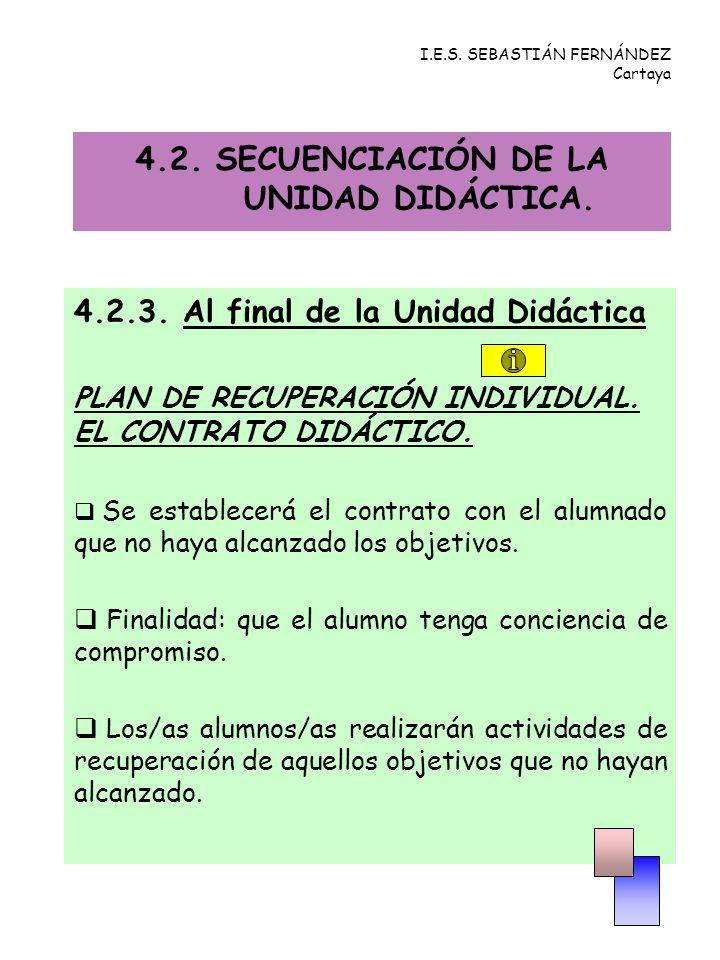 4.2.3.Al final de la Unidad Didáctica PLAN DE RECUPERACIÓN INDIVIDUAL.