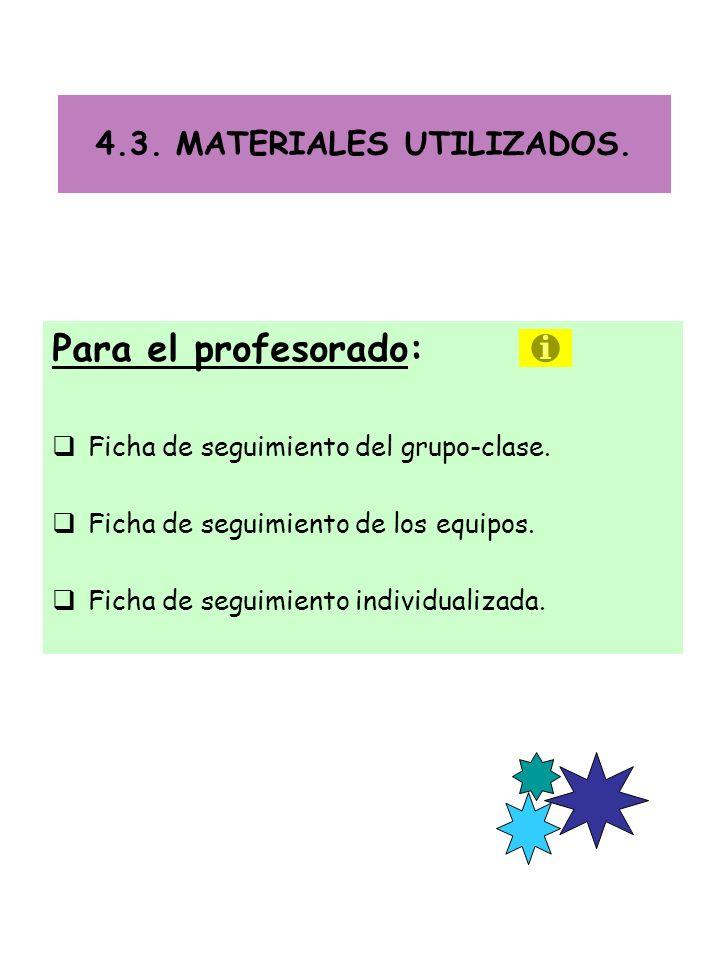 4.3.MATERIALES UTILIZADOS. Para el profesorado: Ficha de seguimiento del grupo-clase.