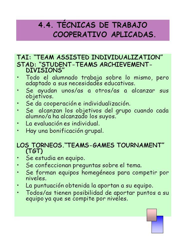4.4. TÉCNICAS DE TRABAJO COOPERATIVO APLICADAS. TAI: TEAM ASSISTED INDIVIDUALIZATION STAD: STUDENT-TEAMS ARCHIEVEMENT- DIVISIONS Todo el alumnado trab