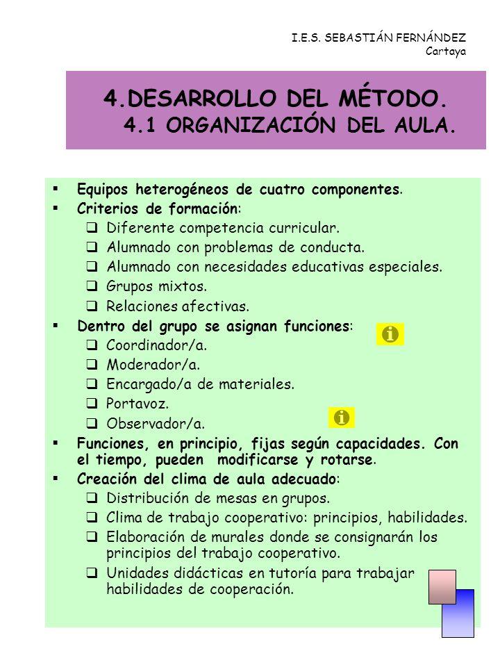 4.DESARROLLO DEL MÉTODO. 4.1 ORGANIZACIÓN DEL AULA. Equipos heterogéneos de cuatro componentes. Criterios de formación: Diferente competencia curricul