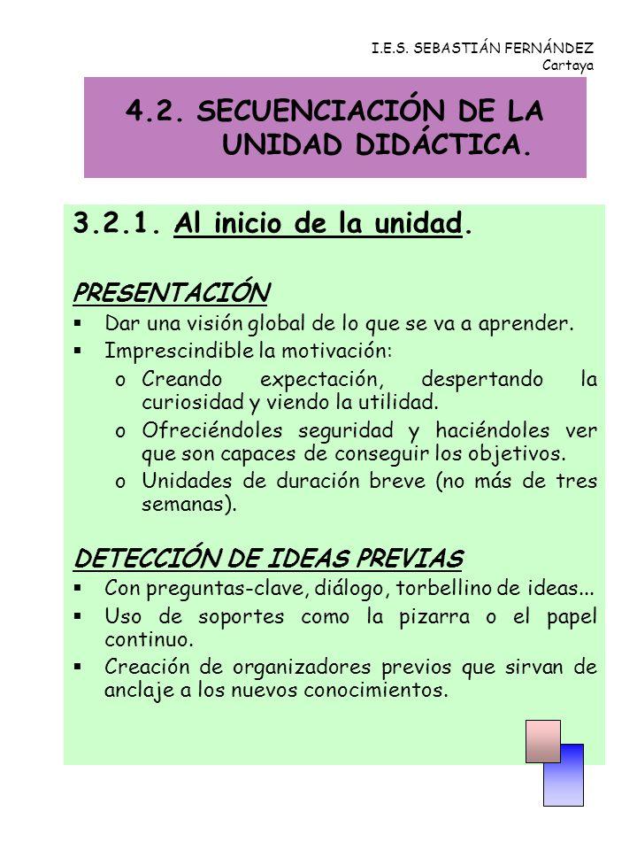 I.E.S. SEBASTIÁN FERNÁNDEZ Cartaya 3.2.1. Al inicio de la unidad. PRESENTACIÓN Dar una visión global de lo que se va a aprender. Imprescindible la mot