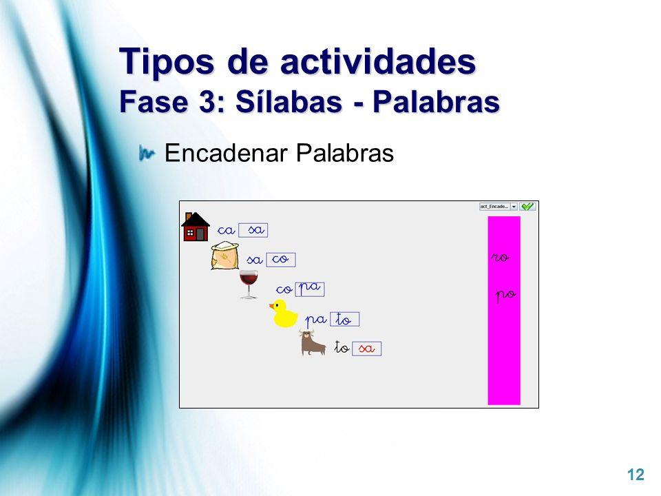 Page 12 Tipos de actividades Fase 3: Sílabas - Palabras Encadenar Palabras
