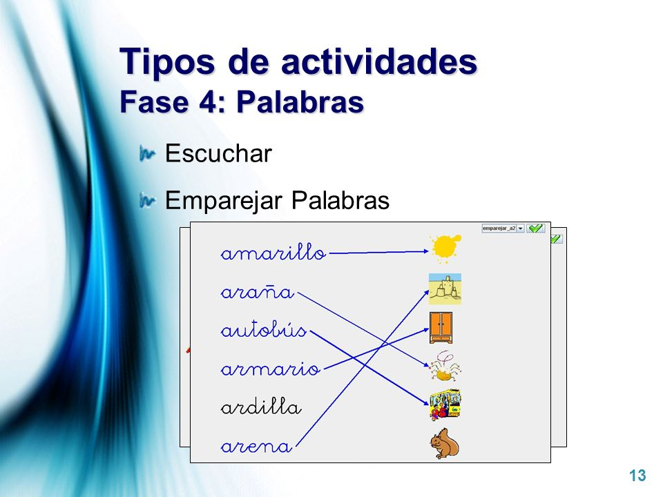 Page 13 Tipos de actividades Fase 4: Palabras Escuchar Emparejar Palabras