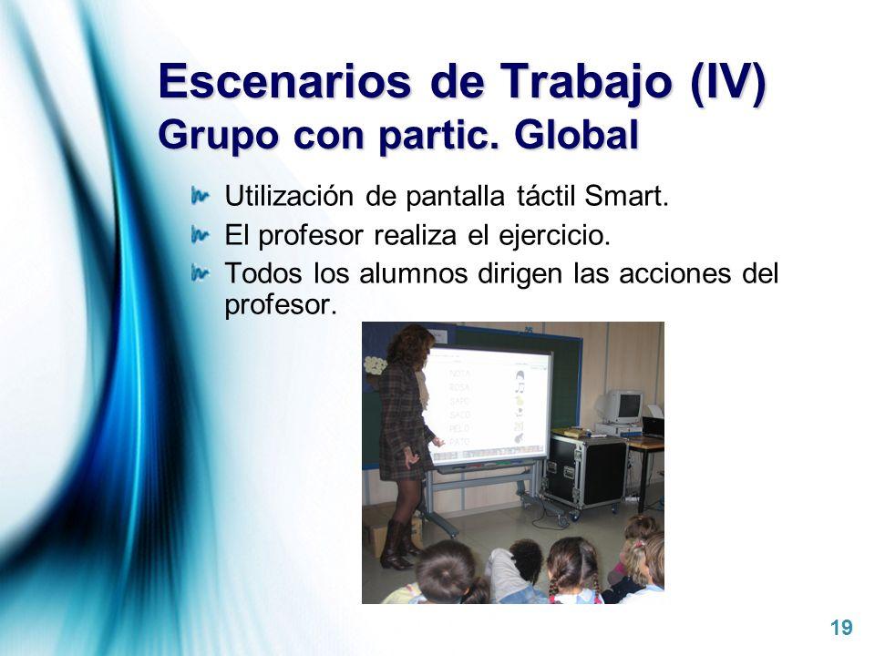 Page 19 Escenarios de Trabajo (IV) Grupo con partic. Global Utilización de pantalla táctil Smart. El profesor realiza el ejercicio. Todos los alumnos
