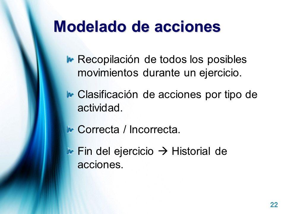 Page 22 Modelado de acciones Recopilación de todos los posibles movimientos durante un ejercicio. Clasificación de acciones por tipo de actividad. Cor