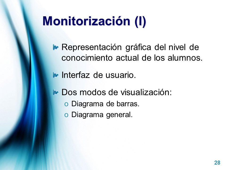 Page 28 Monitorización (I) Representación gráfica del nivel de conocimiento actual de los alumnos. Interfaz de usuario. Dos modos de visualización: oD