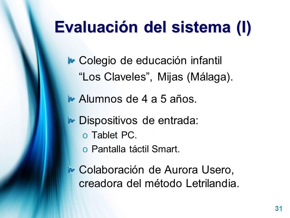 Page 31 Evaluación del sistema (I) Colegio de educación infantil Los Claveles, Mijas (Málaga). Alumnos de 4 a 5 años. Dispositivos de entrada: oTablet