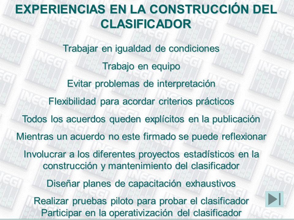 EXPERIENCIAS EN LA CONSTRUCCIÓN DEL CLASIFICADOR Trabajar en igualdad de condiciones Trabajo en equipo Evitar problemas de interpretación Flexibilidad