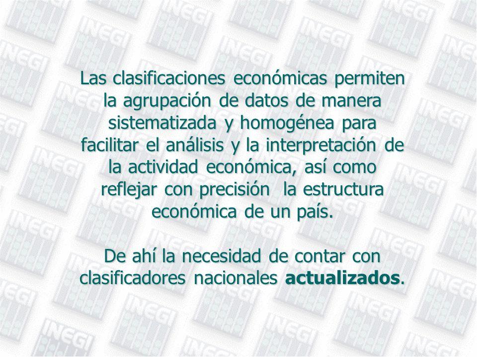 Las clasificaciones económicas permiten la agrupación de datos de manera sistematizada y homogénea para facilitar el análisis y la interpretación de l