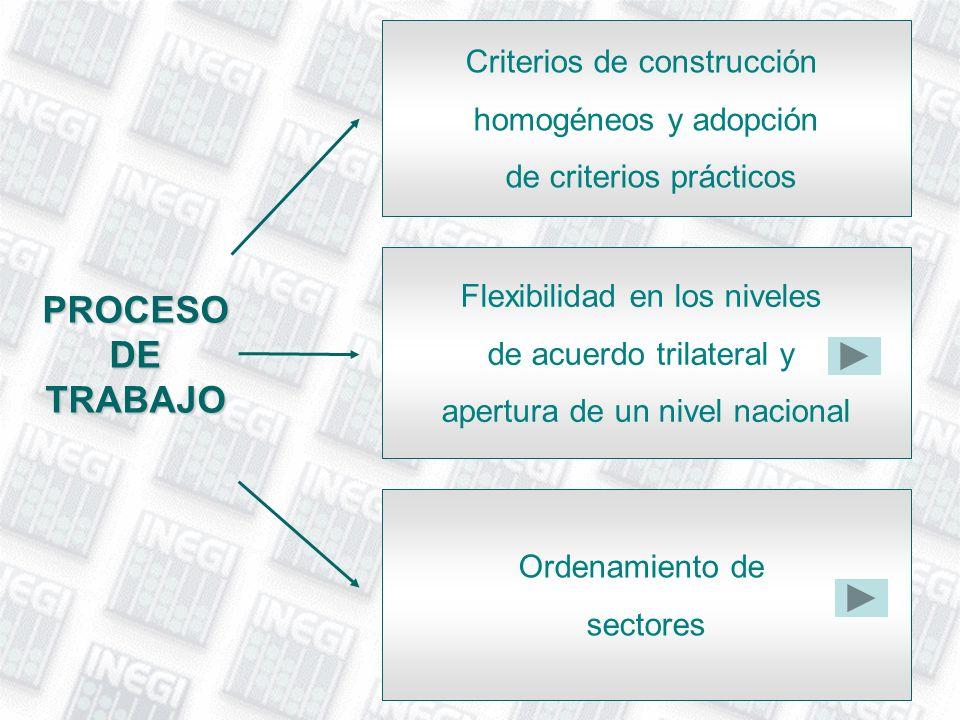 PROCESO DE TRABAJO Criterios de construcción homogéneos y adopción de criterios prácticos Flexibilidad en los niveles de acuerdo trilateral y apertura