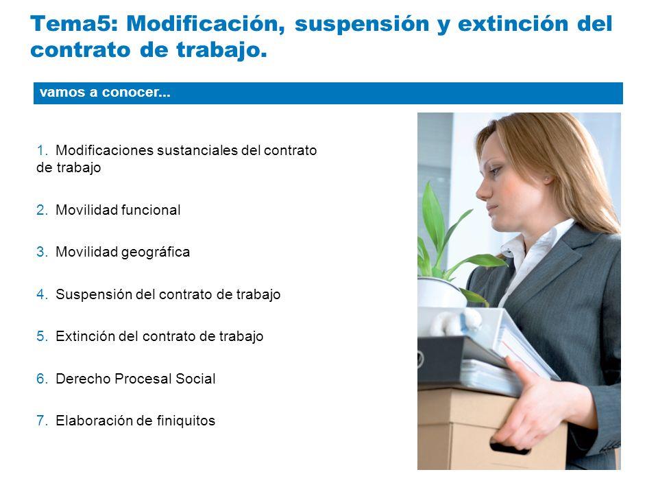 Tema5: Modificación, suspensión y extinción del contrato de trabajo. 1.Modificaciones sustanciales del contrato de trabajo 2.Movilidad funcional 3.Mov