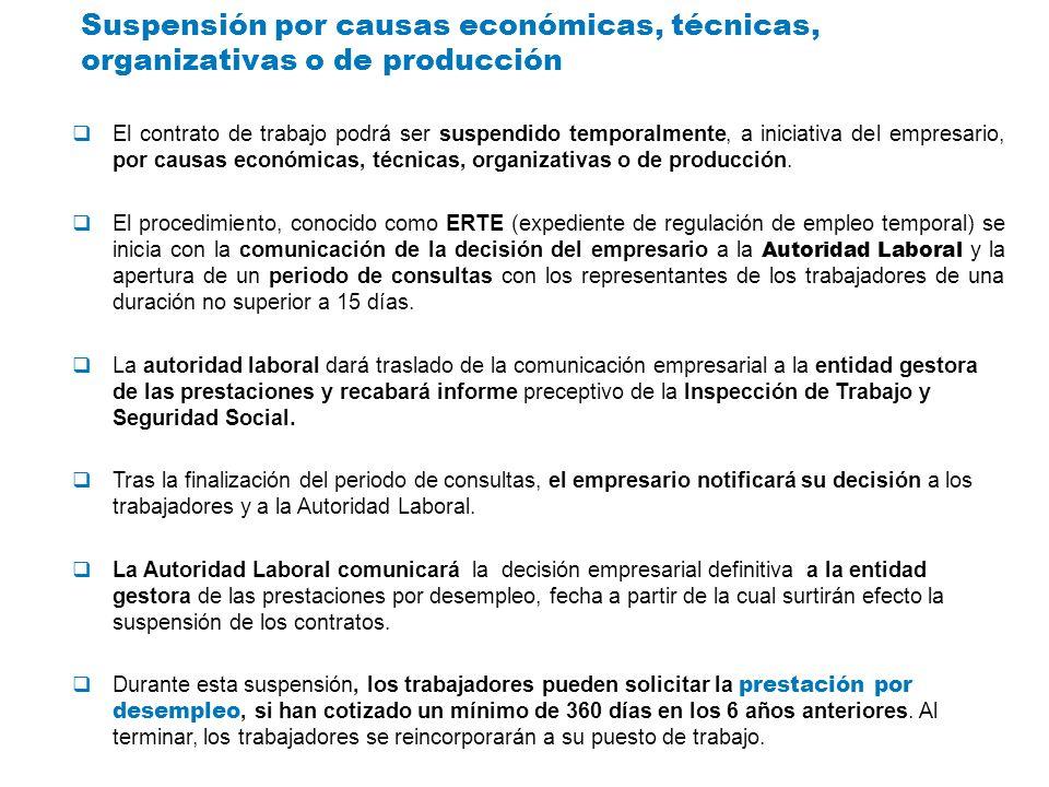 Suspensión por causas económicas, técnicas, organizativas o de producción El contrato de trabajo podrá ser suspendido temporalmente, a iniciativa del