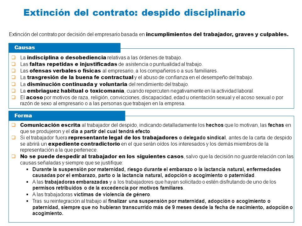 Extinción del contrato: despido disciplinario Extinción del contrato por decisión del empresario basada en incumplimientos del trabajador, graves y cu