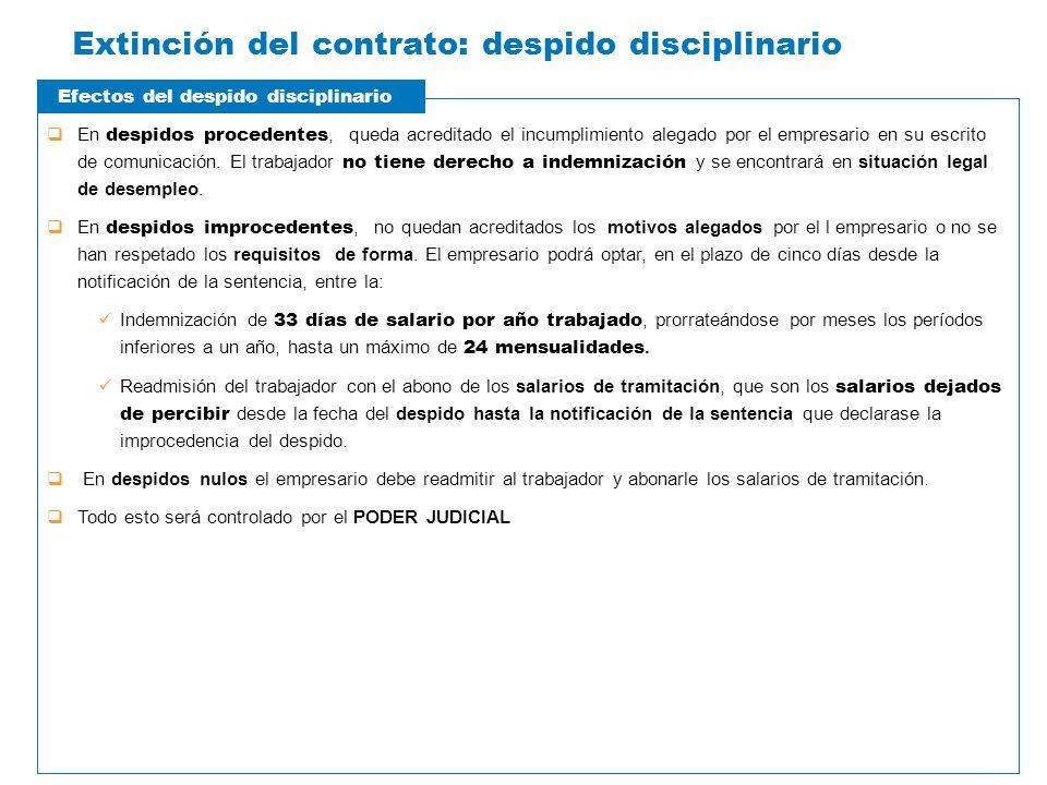 Extinción del contrato: despido disciplinario En despidos procedentes, queda acreditado el incumplimiento alegado por el empresario en su escrito de c