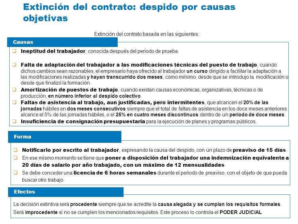 Extinción del contrato: despido por causas objetivas Extinción del contrato basada en las siguientes: Ineptitud del trabajador, conocida después del p