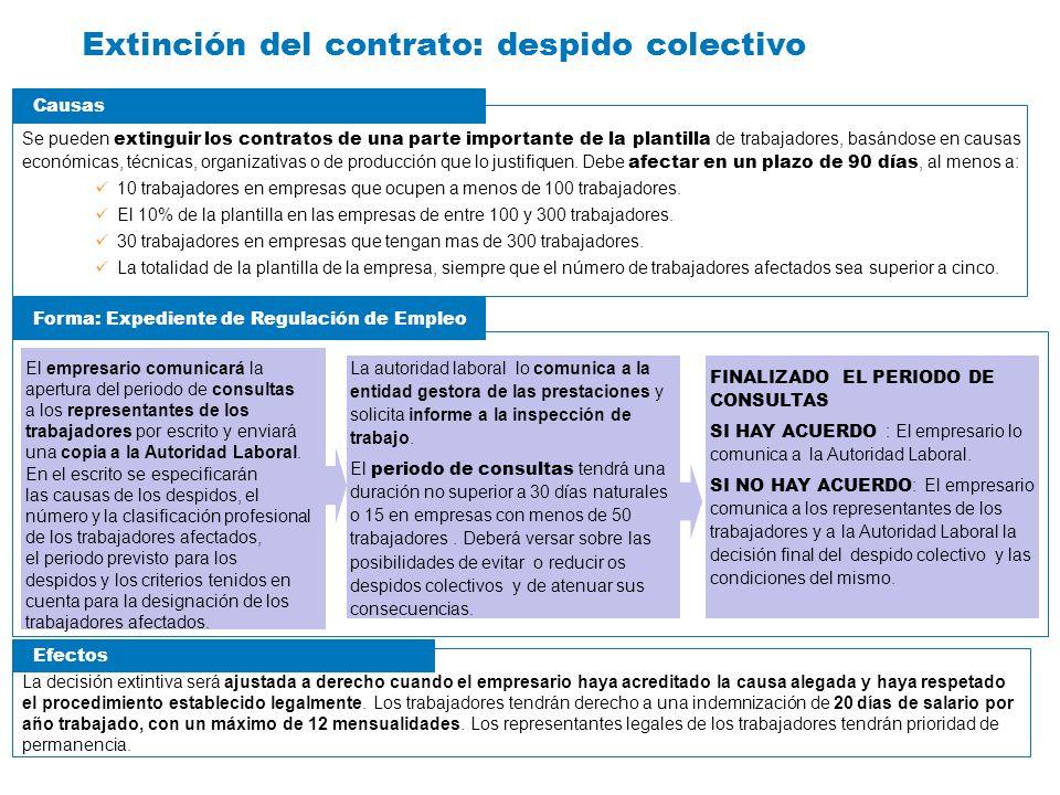 Extinción del contrato: despido colectivo Se pueden extinguir los contratos de una parte importante de la plantilla de trabajadores, basándose en caus