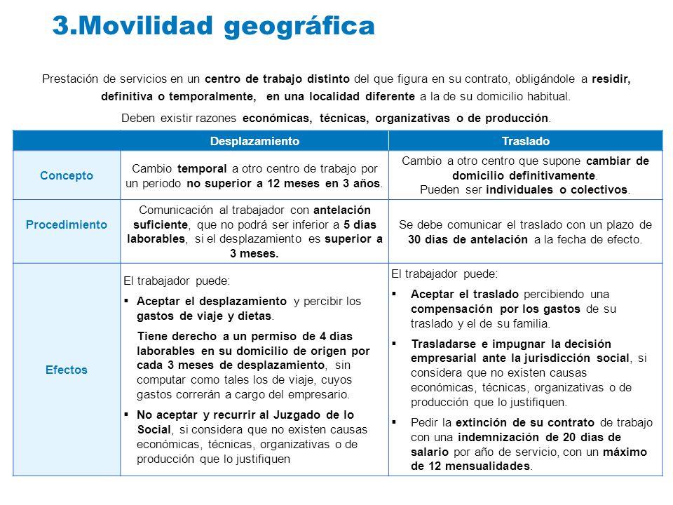 3.Movilidad geográfica Prestación de servicios en un centro de trabajo distinto del que figura en su contrato, obligándole a residir, definitiva o tem