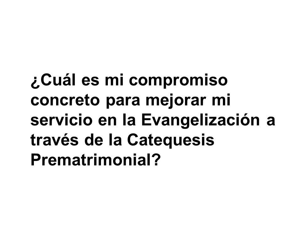 ¿Cuál es mi compromiso concreto para mejorar mi servicio en la Evangelización a través de la Catequesis Prematrimonial?