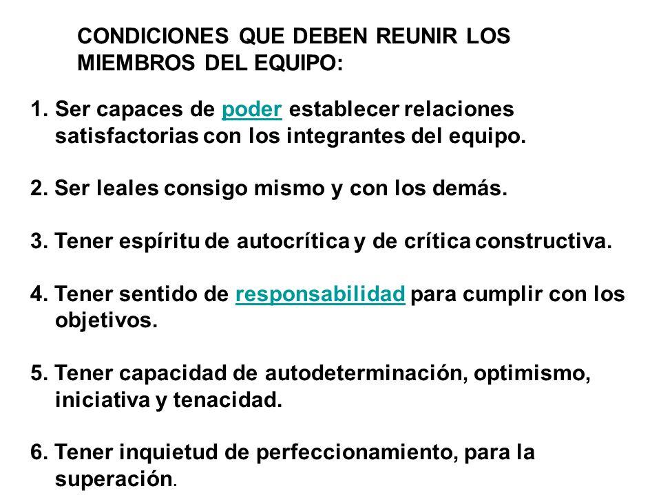 CONDICIONES QUE DEBEN REUNIR LOS MIEMBROS DEL EQUIPO: 1.Ser capaces de poder establecer relaciones satisfactorias con los integrantes del equipo.poder 2.