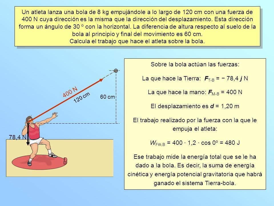 Un atleta lanza una bola de 8 kg empujándole a lo largo de 120 cm con una fuerza de 400 N cuya dirección es la misma que la dirección del desplazamiento.