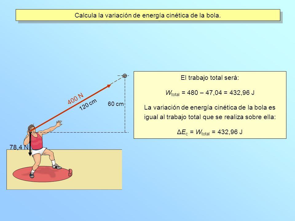 Calcula la variación de energía cinética de la bola.