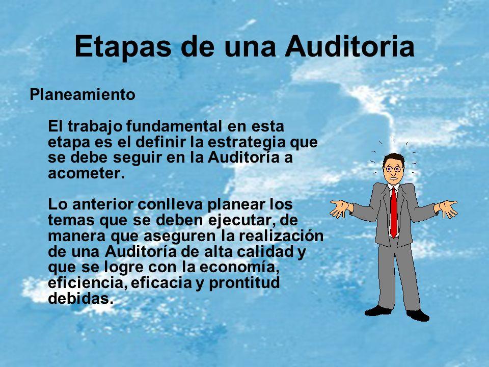 Etapas de una Auditoria Planeamiento El trabajo fundamental en esta etapa es el definir la estrategia que se debe seguir en la Auditoría a acometer. L