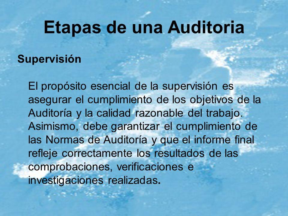 Etapas de una Auditoria Supervisión El propósito esencial de la supervisión es asegurar el cumplimiento de los objetivos de la Auditoría y la calidad