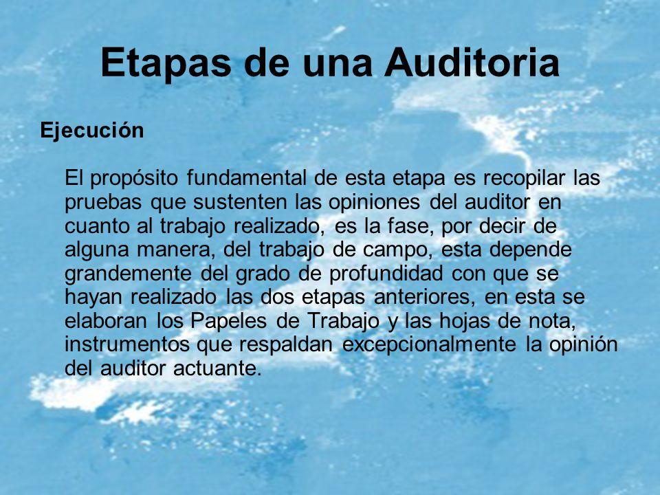 Etapas de una Auditoria Ejecución El propósito fundamental de esta etapa es recopilar las pruebas que sustenten las opiniones del auditor en cuanto al