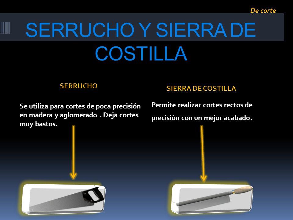 SERRUCHO Y SIERRA DE COSTILLA Se utiliza para cortes de poca precisión en madera y aglomerado. Deja cortes muy bastos. Permite realizar cortes rectos