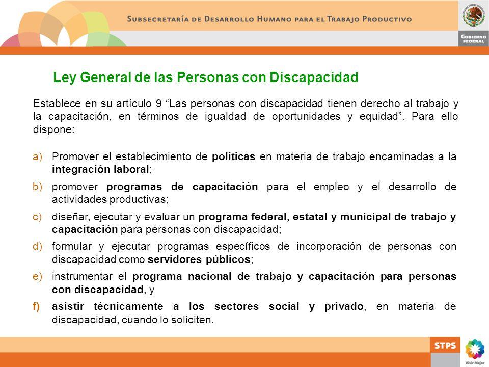 a)Promover el establecimiento de políticas en materia de trabajo encaminadas a la integración laboral; b)promover programas de capacitación para el em