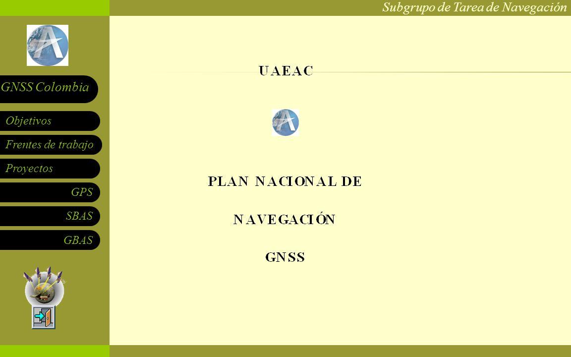 Subgrupo de Tarea de Navegación Frentes de trabajo Proyectos GPS SBAS Objetivos GNSS Colombia GBAS