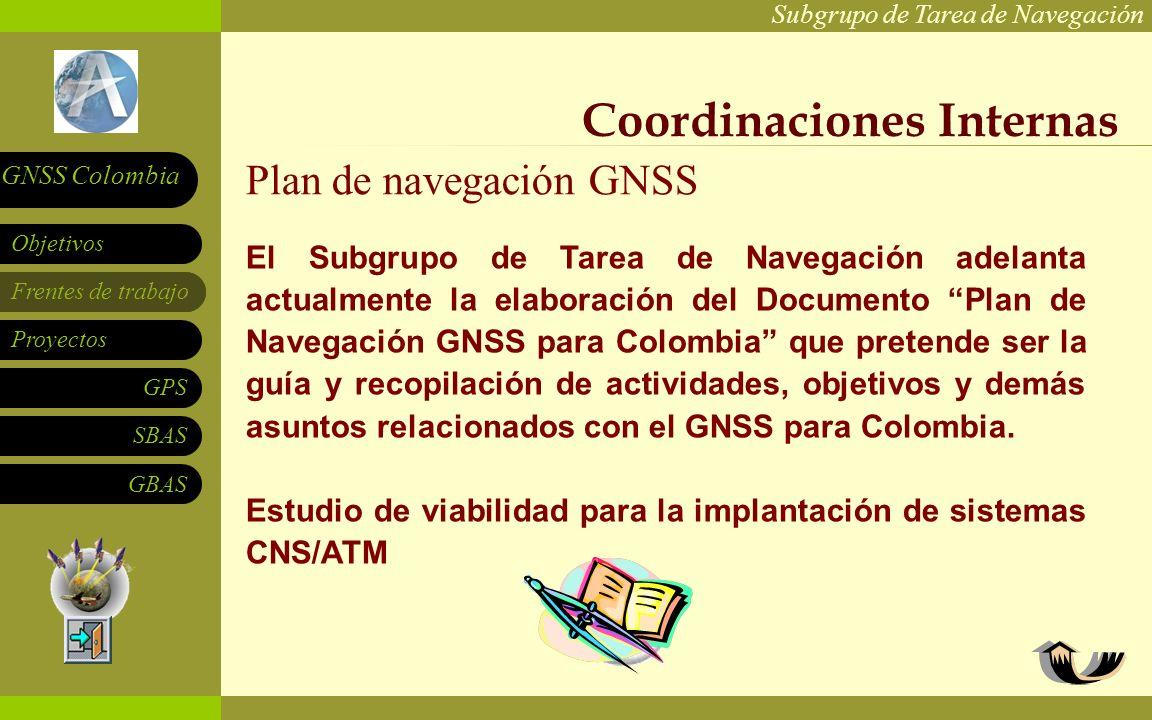 Subgrupo de Tarea de Navegación Frentes de trabajo Proyectos GPS SBAS Objetivos GNSS Colombia GBAS Grupo de Apoyo a la Navegación Satelital UPB y EIA: Universidad de Los Andes: Otras instituciones: Sistema de monitoreo para señales SBAS que permita igualmente evaluar escenarios de interoperabilidad.