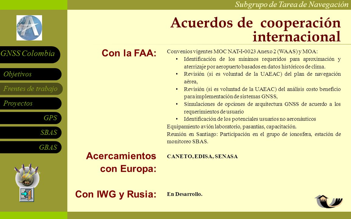 Subgrupo de Tarea de Navegación Frentes de trabajo Proyectos GPS SBAS Objetivos GNSS Colombia GBAS Acuerdos de cooperación internacional Con la FAA: A