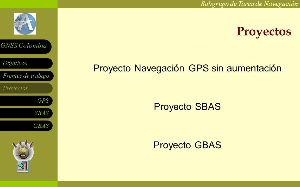 Subgrupo de Tarea de Navegación Frentes de trabajo Proyectos GPS SBAS Objetivos GNSS Colombia GBAS Proyectos Proyecto Navegación GPS sin aumentación P