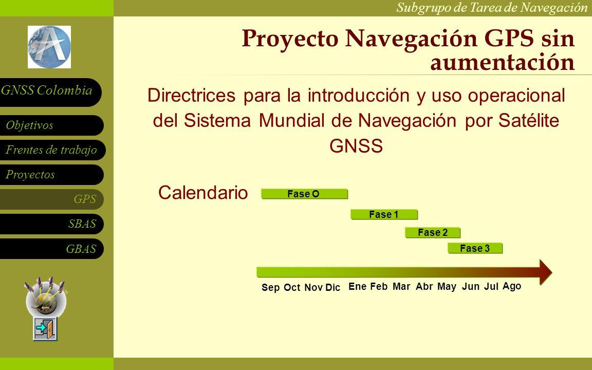 Subgrupo de Tarea de Navegación Frentes de trabajo Proyectos GPS SBAS Objetivos GNSS Colombia GBAS Proyecto Navegación GPS sin aumentación Calendario EneFebMarAbrMayJunJul SepOctNovDic Fase 1 Fase 2 Fase 3 Ago Fase O Directrices para la introducción y uso operacional del Sistema Mundial de Navegación por Satélite GNSS