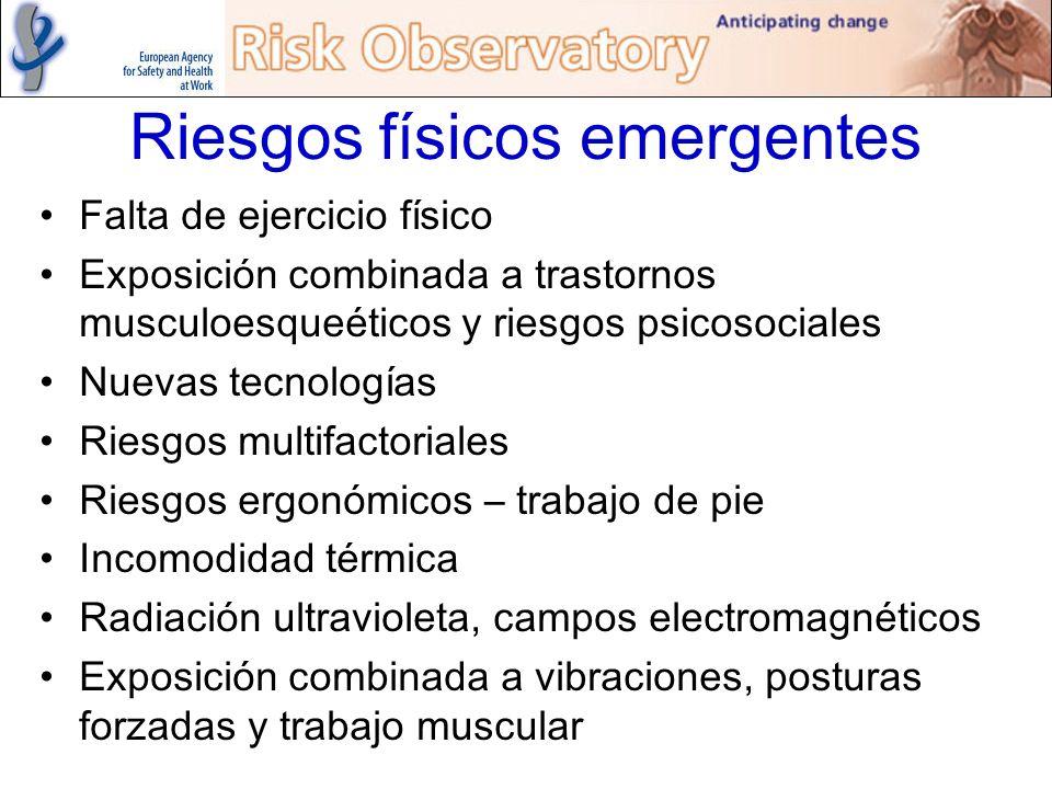 Riesgos físicos emergentes Falta de ejercicio físico Exposición combinada a trastornos musculoesqueéticos y riesgos psicosociales Nuevas tecnologías R