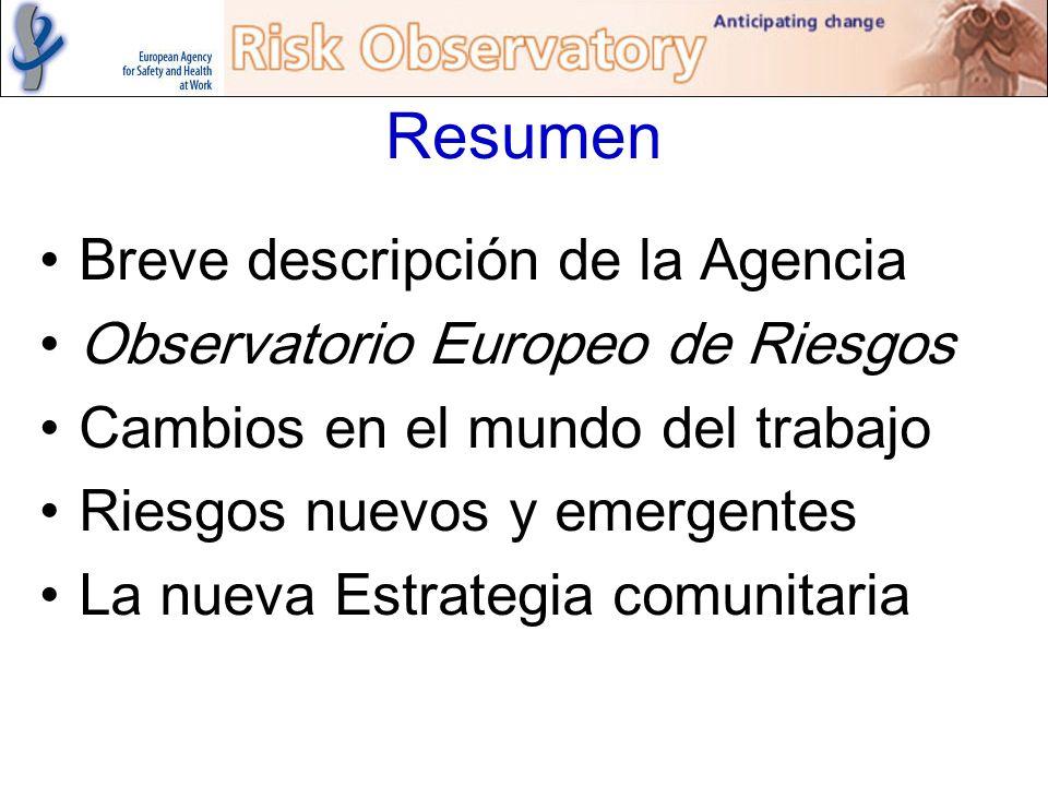 Resumen Breve descripción de la Agencia Observatorio Europeo de Riesgos Cambios en el mundo del trabajo Riesgos nuevos y emergentes La nueva Estrategi