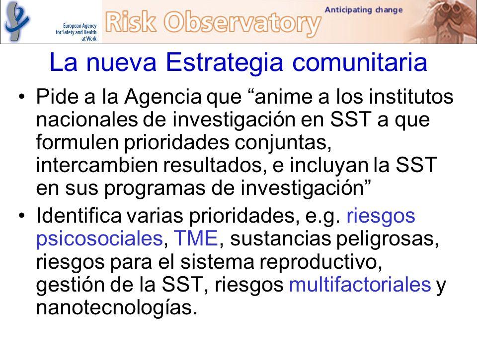 La nueva Estrategia comunitaria Pide a la Agencia que anime a los institutos nacionales de investigación en SST a que formulen prioridades conjuntas,