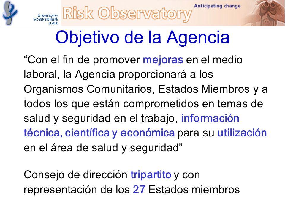 Objetivo de la Agencia Con el fin de promover mejoras en el medio laboral, la Agencia proporcionará a los Organismos Comunitarios, Estados Miembros y