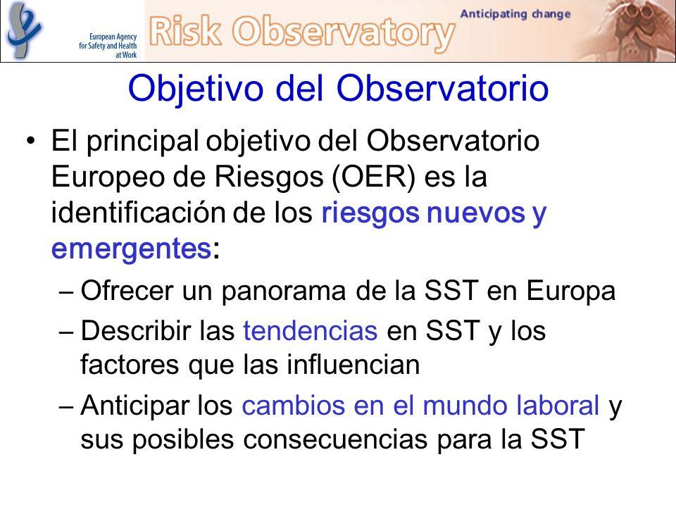 Objetivo del Observatorio El principal objetivo del Observatorio Europeo de Riesgos (OER) es la identificación de los riesgos nuevos y emergentes: –Of