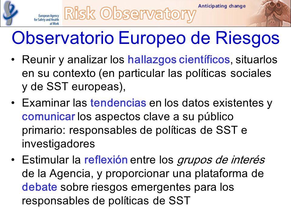 Observatorio Europeo de Riesgos Reunir y analizar los hallazgos científicos, situarlos en su contexto (en particular las políticas sociales y de SST e