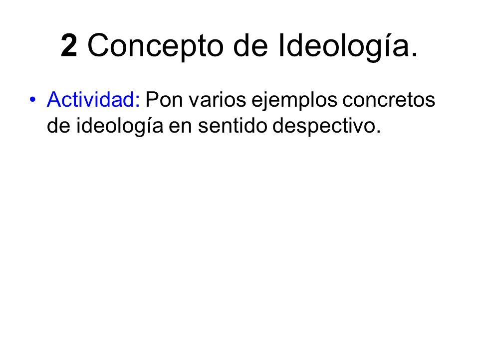 2 Concepto de Ideología. Actividad: Pon varios ejemplos concretos de ideología en sentido despectivo.