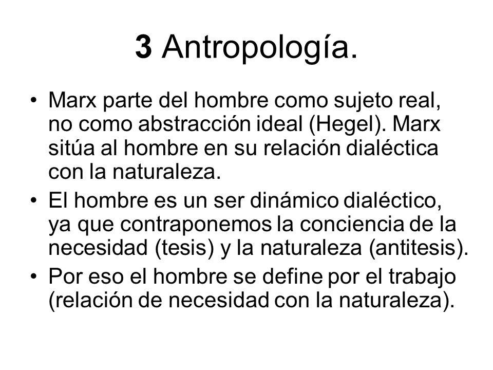 3 Antropología. Marx parte del hombre como sujeto real, no como abstracción ideal (Hegel). Marx sitúa al hombre en su relación dialéctica con la natur